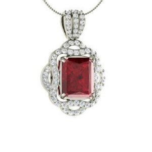 Jewelry - 4.80 Carats Red Ruby With Diamonds PendantNecklace